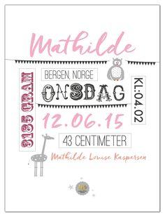 Personlig fødselsplakat til jente! wendelborgdesign.no