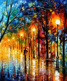 Paintings by Leonid Afremov---so bold and colorful---gorgeous!!!   I miss my paint, brushes, & canvas... :0(