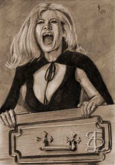 Ingrid Pitt in 'The House that Dripped Blood'. Freehand sketch using HB, 6B pencils and eraser. Darkened and tinted digitally.