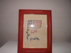 AMERICAN FLAG HANDSTITCHED SAMPLER