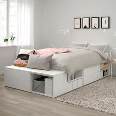 PLATSA Bed frame with 4 drawers - white, Fonnes - IKEA