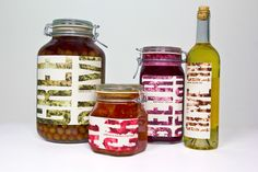 I like the inky style and direction of type. All jars and bottles are different but style of label groups them together