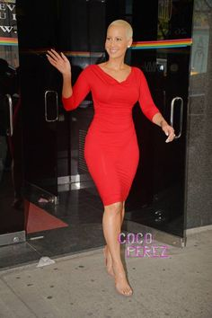 Amber Rose werks her curves in a sexy frock in NYC!
