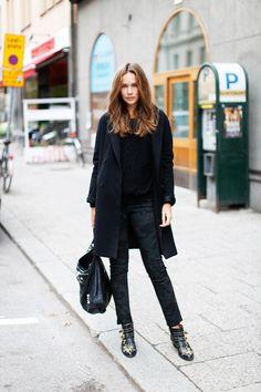 Caroline Blomst throws one down in Stockholm including a Marant knit, Chloés, Balenciaga bag and BZRcoat. #CarolineBlomst #CarolinesWorld