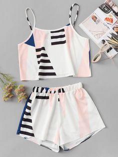 Shop Geo Print Cami With Shorts online. SHEIN offers Geo Print Cami With Shorts & more to fit your fashionable needs. Cute Pajama Sets, Cute Pjs, Cute Pajamas, Girls Fashion Clothes, Teen Fashion Outfits, Girl Outfits, Fashion Black, Steampunk Fashion, Woman Fashion