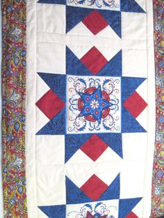 Patriotic Quilted  table runner Land of by KellettKreations, $35.00