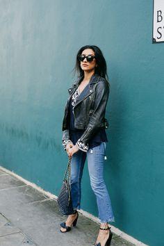 Indian Grunge with House of Tabla Kaftan top, kick flare jeans and Celine sandals on Kavita Cola www.kavitacola.com