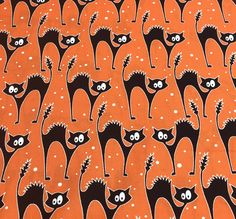 Halloween Fabric, Cat Fabric, Faboolous Fun, Scaredy Glow Cats Orange, Glow in the Dark Halloween Fabric, Halloween Cats, by Kanvas, 8984-28 by AnnikasArts on Etsy Halloween Fabric, Halloween Masks, Craft Fair Table, Metal Pumpkins, How To Make Banners, Cat Fabric, Geometric Fabric, Orange Fabric, Orange Background