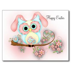Little Miss Easter - Fantasy Owl Postcard - Easter