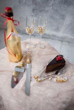Cake server set and wedding champagne flutes & от DiAmoreDSLUXURY