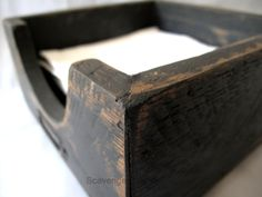 A friend of mine recently asked if I had ever made a napkin holder. Why no, I haven't, but it sounds like a fairly easy project and better yet, I could make one out of pallet wood and other scraps I … Continue Reading → Farmhouse Napkins, Wood Pallets, Pallet Wood, Wood Napkin Holder, Black Chalk Paint, Woodworking Inspiration, Miter Saw, Wood Glue, Scroll Saw
