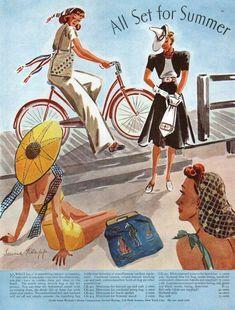 1930s Fashion, Diy Fashion, Fashion Photo, Vintage Fashion, Fashion Illustration Vintage, Fashion Illustrations, Summer Outfits Women, Summer Fashions, Hollywood Fashion