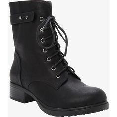 Torrid Lace-Up Combat Boots (Wide Width) ($70) ❤ liked on Polyvore featuring shoes, boots, ankle booties, deep black, black ankle booties, military lace up boots, black boots, army boots and wide boots