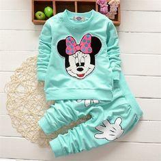 Marca de moda Al Aire Libre Deporte Causal Niños Disfraces 2 unids/set Boutique de Ropa de La Muchacha de Mickey Mouse de Impresión de Manga Larga Ropa(China (Mainland))