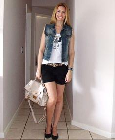 shorts Renner, regata Marisa, colete Zara, bolsa Kargo cinto Sul Center Fashion