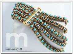Jasmine Cuff Bracelet: Designed by Mabeline Gidez-done in Herringbone with surface embellishments