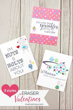 With unique designs, these 'free printable' DIY Eraser Valentines are the perfect way for your kids to celebrate with their classmates!