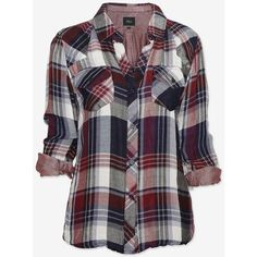 Rails Plaid Shirt: Navy/Burgundy (165 PEN) ❤ liked on Polyvore featuring tops, shirts, blusas, blouses, plaid, burgundy plaid shirt, pocket shirt, plaid shirt, navy long sleeve shirt and collared shirt