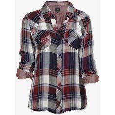 Rails Plaid Shirt: Navy/Burgundy (67 CAD) ❤ liked on Polyvore featuring tops, shirts, blusas, blouses, camisas, folding shirts, fold long sleeve shirt, burgundy shirt, long sleeve tops and navy long sleeve shirt