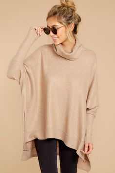 f72a15fe0f Last To Love Taupe Cowl Neck Sweater