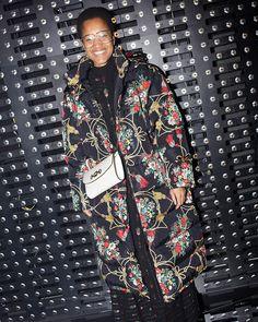 Tamu McPherson, guest at the Gucci Fall Winter 2019 show by Alessandro Michele. Balenciaga, Givenchy, Valentino, Gucci Fashion, Fashion Show, Goth Chic, Alessandro Michele, High End Fashion, Versace