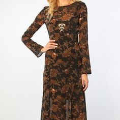 """Obey Santana black copper floral maxi dress By Obey / beautiful sheer black and copper floral print / comes with soft knit cotton slip with shoulder clips / open back with zipper closure / long slim bell sleeves / flowy maxi length / about 60"""" length from shoulder neck to hem / new never worn / if you have a bust smaller than 34a this might not work / size xs Obey Dresses Maxi"""