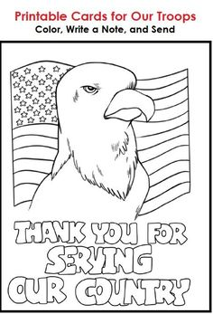 Printable cards that students can color, write a message on, and send to troops overseas
