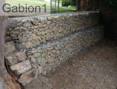 1.2m tall stepped gabion wall using 2 rows of 600 x 600mm welded mesh gabions http://www.gabion1.com.au