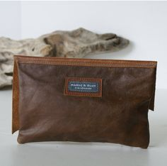 Raw Edge Leather Bag Leather Clutch Brown by margeandrudy