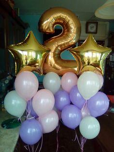 Гелиевые шарики 9 дюймов , фольгированные звезды и цифра 2