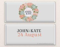 Personalised wedding chocolate bar www.barilliant.com.au #wedding #candy #favors #chocolate #cake #beautiful #sweet #bonbonniere