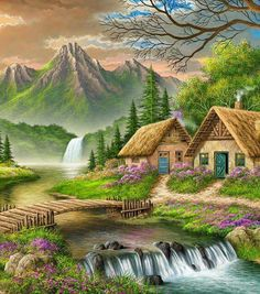 DIY Digital Canvas Oil Painting By Numbers Pictures Coloring By Numbers Large Acrylic Paint By Number Kits Fairy House Scenery Paintings, Nature Paintings, Beautiful Paintings, Beautiful Landscapes, Landscape Art, Landscape Paintings, Belle Image Nature, Beautiful Places, Beautiful Pictures