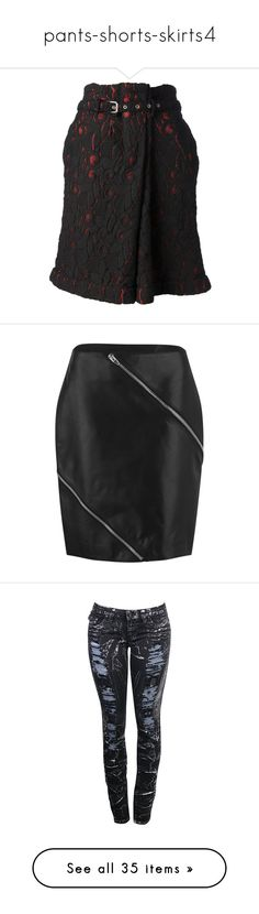 """pants-shorts-skirts4"" by harlie-timmons ❤ liked on Polyvore featuring shorts, skirts, comme des garçons, lace shorts, bermuda shorts, lacy shorts, comme des garcons shorts, black, black pencil skirt and reversible skirt"