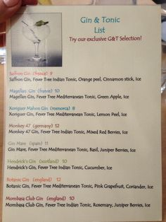 Gin & Tonic menu ! Village Cafe. Deia, Mallorca