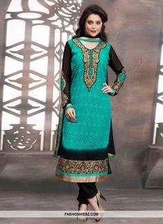 Exquisite Resham Work Pakistani Salwar Suit