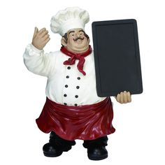 Wearing his traditional chef's uniform and jaunty red apron, this DecMode Polystone Chef Chalkboard Statue is a delightful way to showcase your. Chef Kitchen Decor, Kitchen Themes, Kitchen Dining, Kitchen Ideas, Bistro Kitchen, Kitchen Rack, Dining Decor, Kitchen Pictures, Kitchen Layout