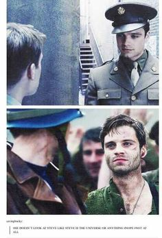-Find someone who looks at you like Bucky Barnes looks at Steve Rogers.- <-- OMEFF, THIS F*CKING CAPTION. XD