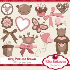 Girly Pink and Brown - Digital Clipart 15 High Resolution 300dpi images JPEG's and Transparent background PNG's Each digital clipart image size is approx: 6""