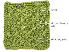 Double Decrease by Sandi Rosner. The 3 different types are most frequently used in lace patterns, where the choice of decrease can have a huge impact on the appearance of the fabric. Lower portion of swatch: sl 1, k2tog, psso (top of each diamond shows a strong diagonal lean to the left). Center section: s2kp2 (vertical line up the center of each diamond is the strongest element in this section). Top of swatch: k3tog (strong diagonal lean to the right).