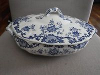 ANTIQUE BLUE AND WHITE LIDDED TUREEN MOSELLE 11 3/4""