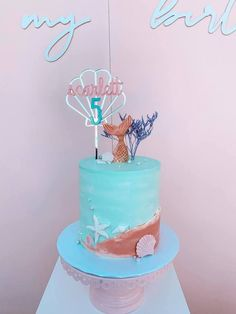 Mermaid Cake from a Turquoise and Pink Mermaid Birthday Party on Kara's Party Ideas | KarasPartyIdeas.com (23) Summer Birthday, Mermaid Birthday, Birthday Bash, Birthday Parties, Mermaid Party Decorations, Mermaid Parties, Balloon Decorations, Mermaid Kids, Bubble Balloons