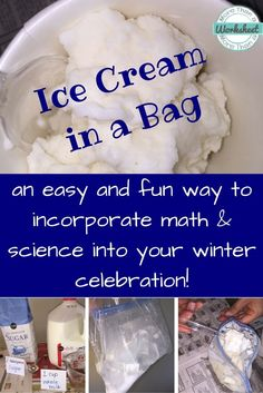 grade science Ice Cream in a Bag…such a fun way to incorporate real world math (measurement) and science (states of matter) into your winter celebration, or anytime really. Fun tutorial and video!Over 15 Awesome Boredom Buster Science Experiment Ideas t Science Experiments Kids, Science Fair, Teaching Science, Science For Kids, Science Classroom, Physical Science, Science Ideas, Classroom Themes, Science Chemistry