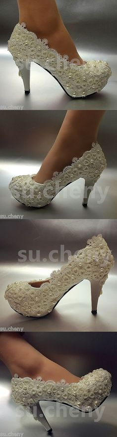 Wedding Shoes And Bridal Shoes: 3 / 4 Light Ivory Lace Crystal Wedding Shoes Bridal High Heels Pumps Size 5-11 BUY IT NOW ONLY: $39.99