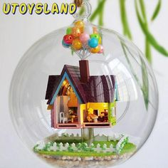 UTOYSLAND Miniature DIY Wooden UP The Movie Inspired 3D Toy Doll House Voice Control LED Light Crystal Glass Ball Kids Toys