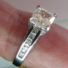 Real Solid 14KT White Gold Princess Brilliant cut Solitaire Engagement ring sz 7