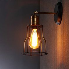 Industrial Wall Lamp, Rustic Wall Lighting, Sconce Shades, Wall Lamps Bedroom, Wall Lights Diy, Lamp Light, Cage Wall Lights, Led Porch Light, Industrial Bedside Lamps