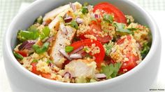 COUSCOUS SALAD WITH GRILLED CHICKEN BREAST, TOMATOES AND HERBS See: http://finedininglovers.com/recipes/main-course/couscous-salad-grilled-chicken-breast-tomatoes-herbs/