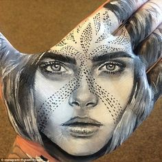 Stunning: He uses incredible shading to create the contours of the faces, such as this one...