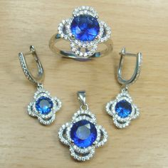 Brilliant Cut Blue White CZ 925 Sterling Silver Full Jewelry Set