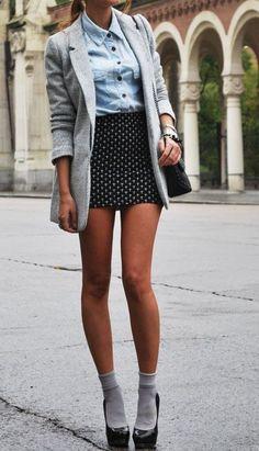 Socks and Heels Spring Fashion Trends We Love - denim shirt + short mini + grey boyfriend blazer/jacket 2014 Trends, Moda Paris, Heels Outfits, Socks And Heels, Ankle Socks, Mode Vintage, Looks Style, Mode Style, Look Cool